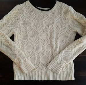 Cream Cable Knit Sweater with Leather Trim